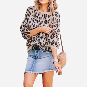Sweaters - BRAND NEW LEOPARD PRINT LONG SLEEVE KNIT SWEATER